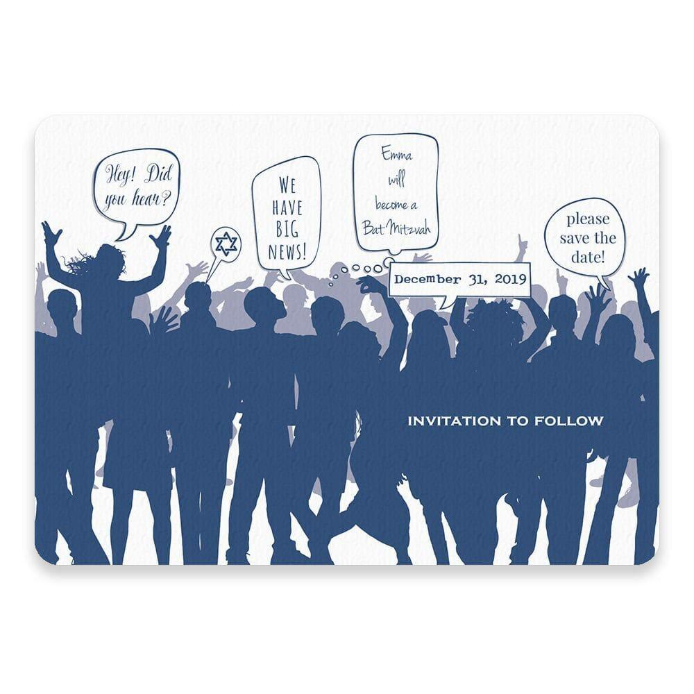 Big Celebration Bar Bat Mitzvah Save The Date Postcards