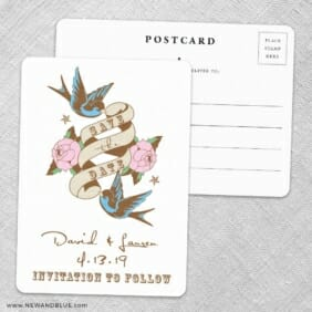 Bettie Save The Date Wedding Postcard Front And Back