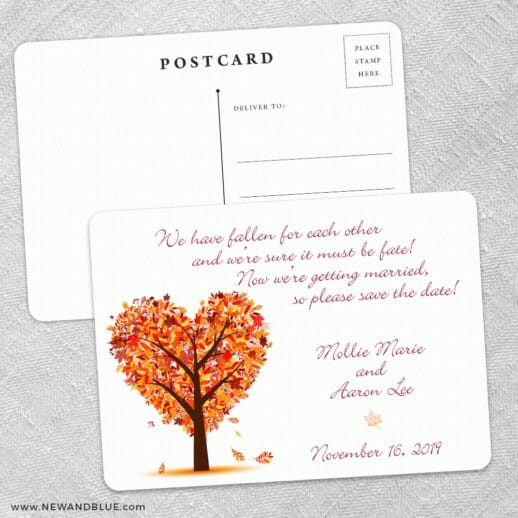 Autumn Romance Save The Date Wedding Postcard Front And Back