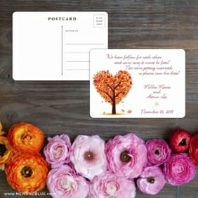 Autumn Romance Save The Date Postcard With Back