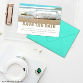 Message In A Bottle Save The Date Cards And Optional Color Envelopes