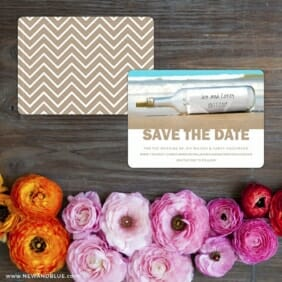 Message In A Bottle Save The Date Card With Back Printing