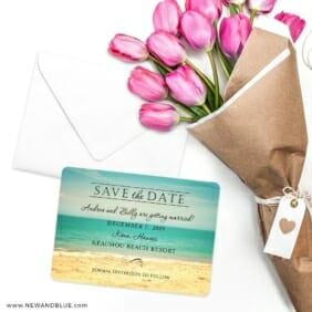 Kona Save The Date Cards With Envelope