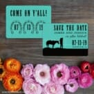 Hitched Save The Date Card With Back Printing