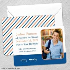 Haftorah Bar Bat Mitzvah Save The Date Wedding Card