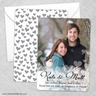 Glistening Hearts Save The Date Wedding Card