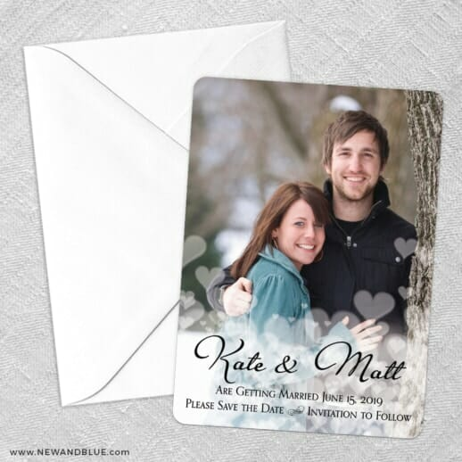 Glistening Hearts Save The Date Party Card