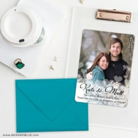 Glistening Hearts Save The Date Cards And Optional Color Envelopes