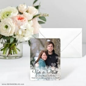 Glistening Hearts Save The Date Card With Envelope