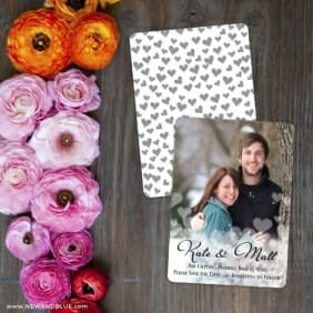 Glistening Hearts Save The Date Card With Back Printing