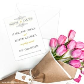 Fly Me To The Moon Save The Date Cards With Envelope