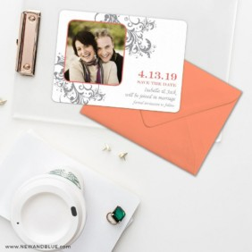 Flourish Save The Date Cards And Optional Color Envelopes