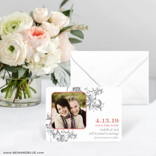 Flourish Save The Date Card With Envelope