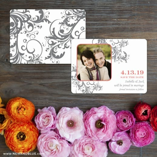 Flourish Save The Date Card With Back Printing