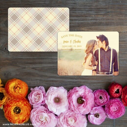 Breaking News Save The Date Card With Back Printing