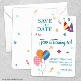 Birthday Bash Save The Date Wedding Card