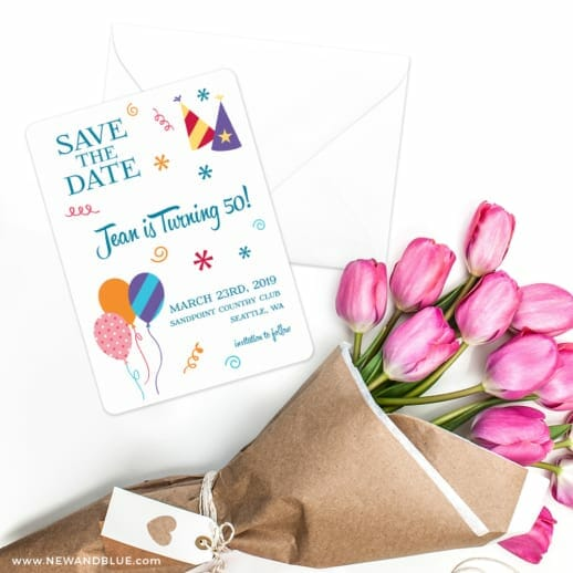 Birthday Bash Save The Date Cards With Envelope