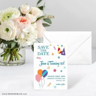 Birthday Bash Save The Date Card With Envelope