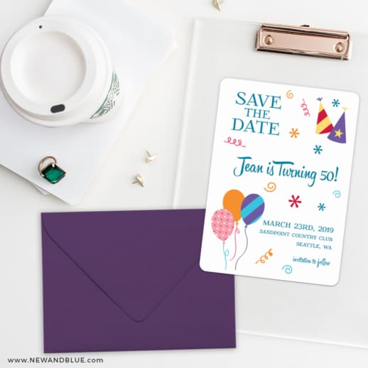 Birthday Bash Save The Date Cards And Optional Color Envelopes