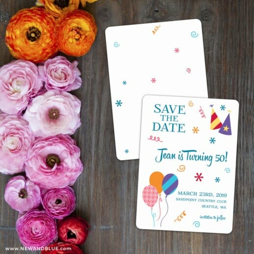 Birthday Bash Save The Date Card With Back Printing