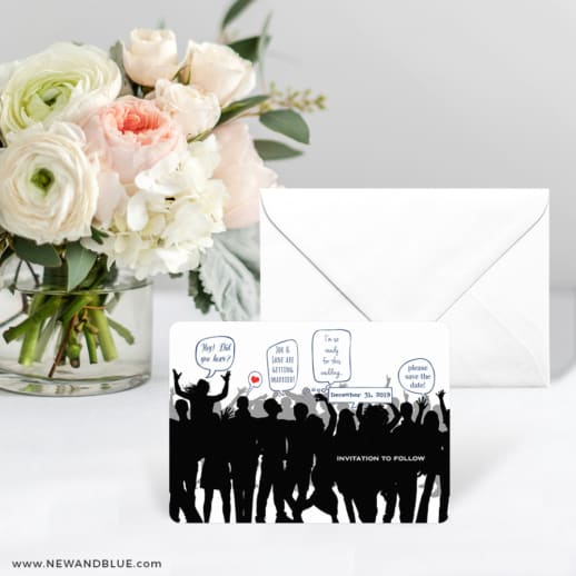 Big Celebration Save The Date Card With Envelope