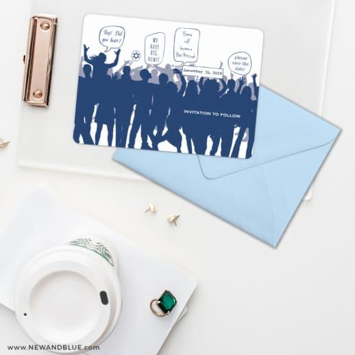 Big Celebration Bar Bat Mitzvah Save The Date Cards And Optional Color Envelopes