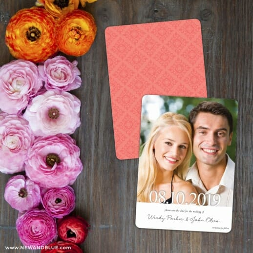 Bask In Love Save The Date Card With Back Printing