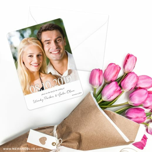 Bask In Love Save The Date Cards With Envelope