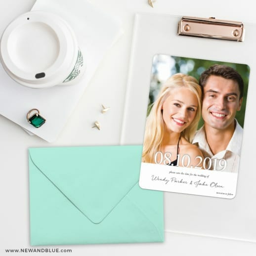 Bask In Love Save The Date Cards And Optional Color Envelopes