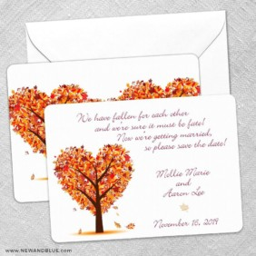 Autumn Romance Save The Date Wedding Card