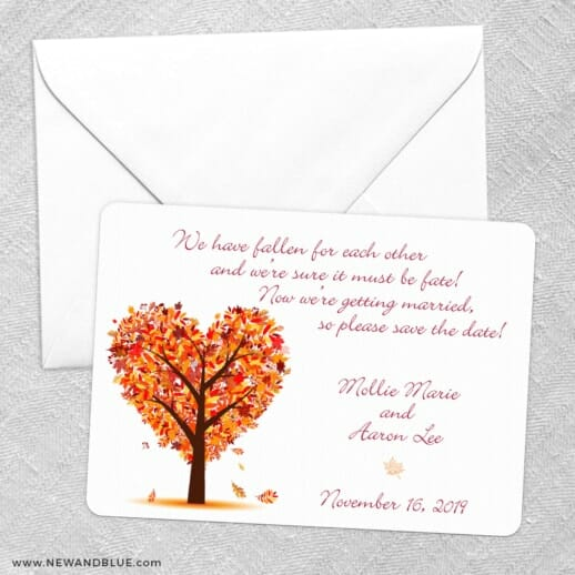 Autumn Romance Save The Date Party Card