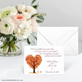 Autumn Romance Save The Date Card With Envelope
