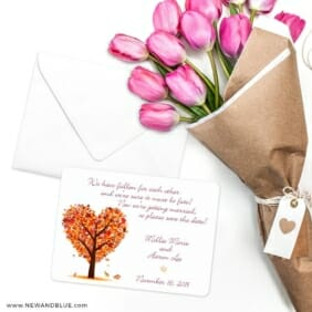 Autumn Romance Save The Date Cards With Envelope