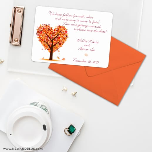 Autumn Romance Save The Date Cards And Optional Color Envelopes