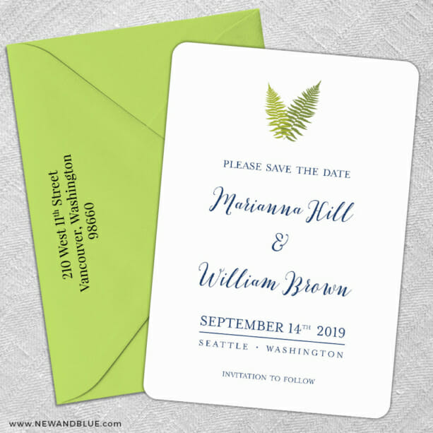 Fern 5 Save The Date With Optional Color Envelope1
