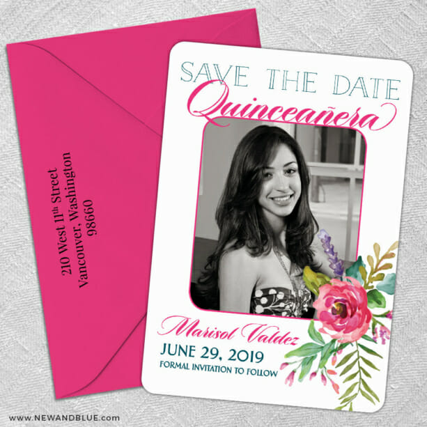 Dulce Quinceanera 5 Save The Date With Optional Color Envelope1