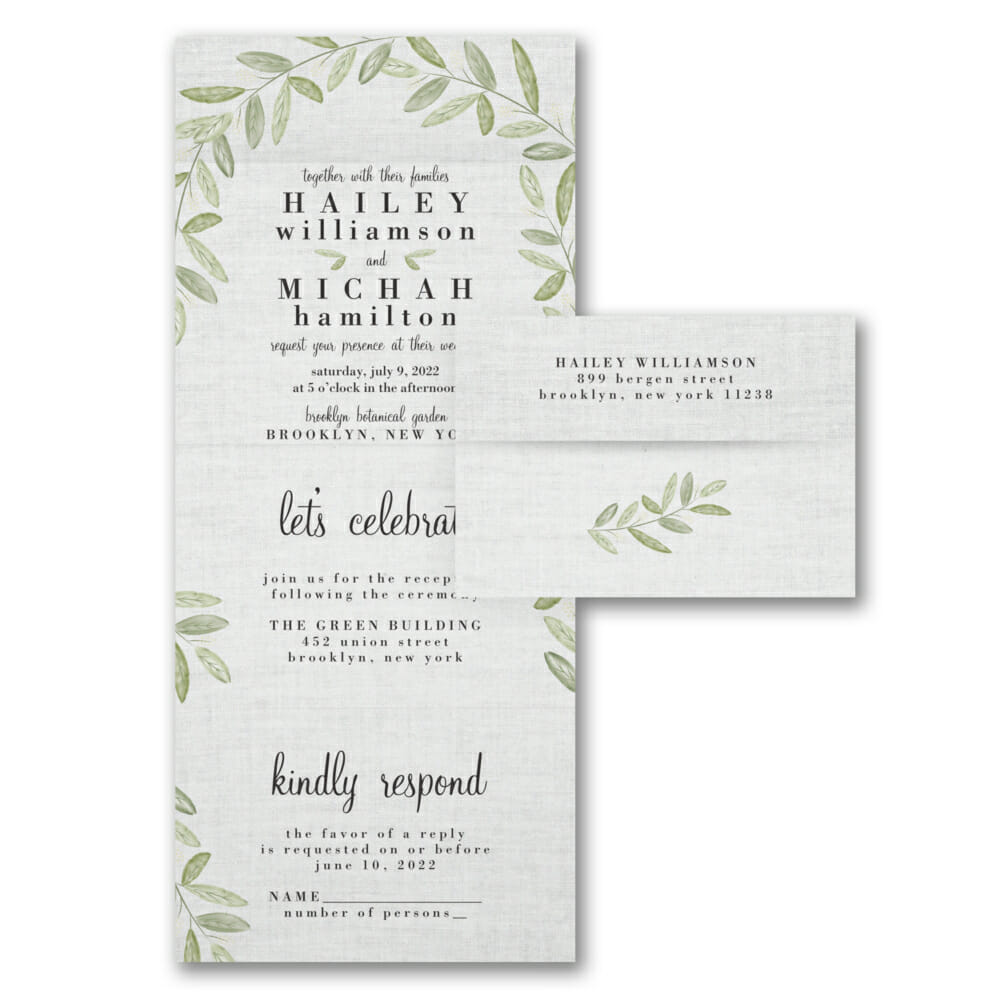 Natural Linen All In One Wedding Invitations Seal And Send