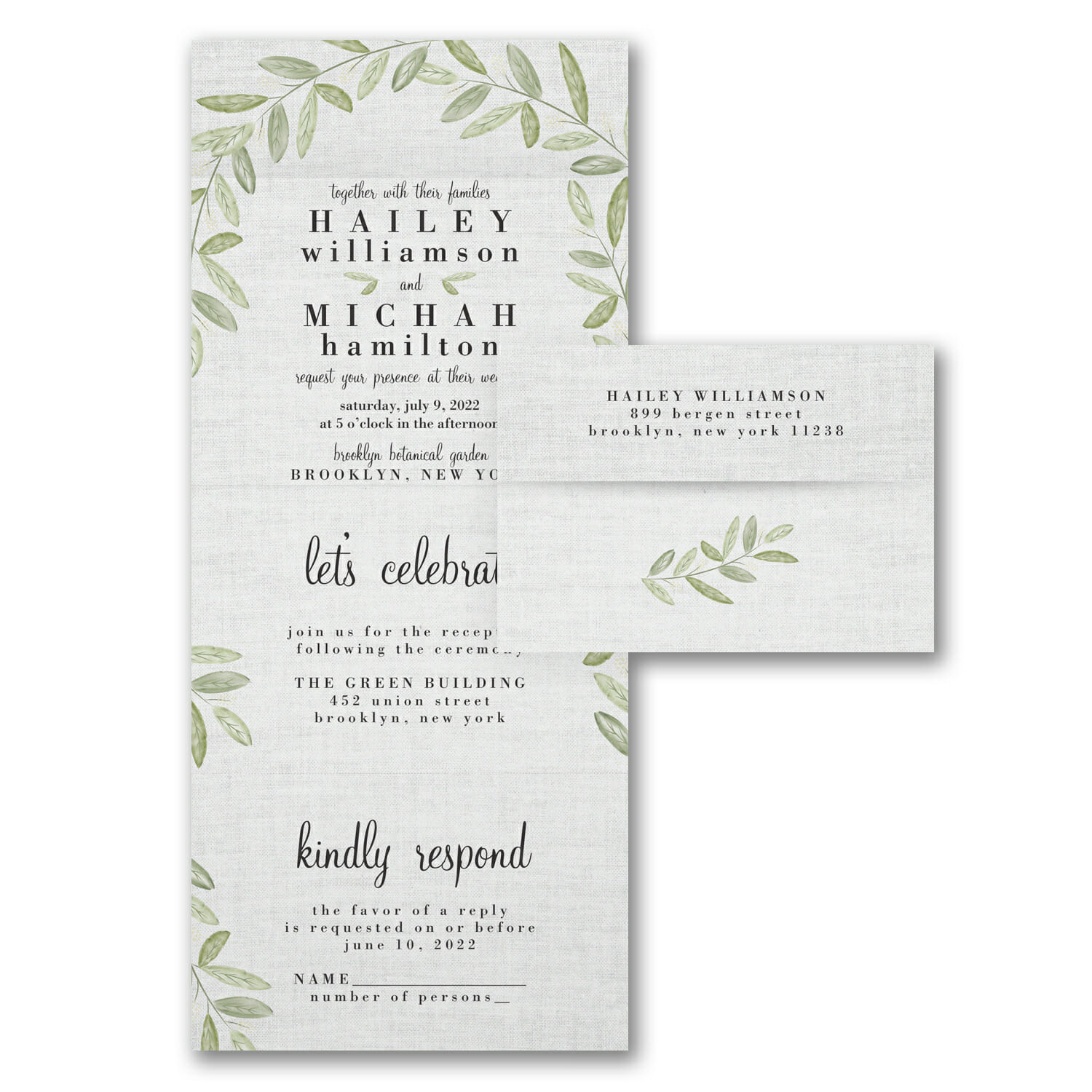 Natural Linen  All In One Wedding Invitations, Seal and Send Wedding  Invitations, Wedding Invitations