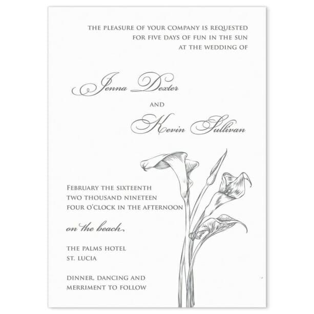 Allure Calla Lily Wedding Invitation