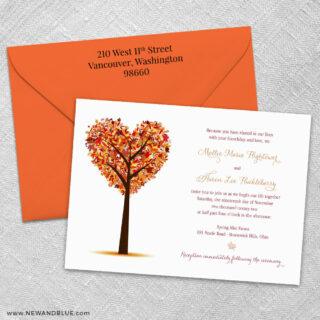 Autumn Romance 3 Invitation And Color Envelope