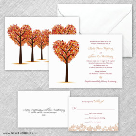 Autumn Romance 5 Wedding Invitation And Rsvp Card