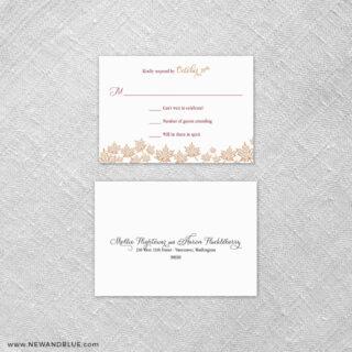 Autumn Romance 6 Reception Card And Rsvp Card