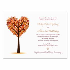 Autumn Romance Invitation Shown In Color Red