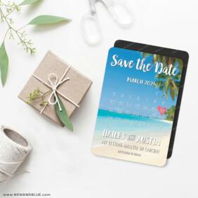 Beach Calendar 4 Wedding Magnet