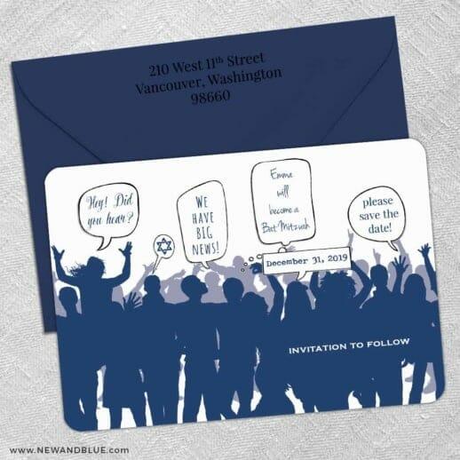 Big Celebration Bar Mitzvah 5 Save The Date With Optional Color Envelope