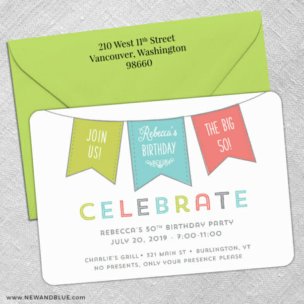 Birthday Banner 5 Save The Date With Optional Color Envelope1
