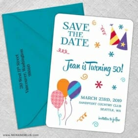 Birthday Bash 5 Save The Date With Optional Color Envelope