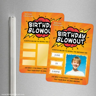 Birthday Blowout 2 Scratch Off Save The Date Refrigerator Magnet