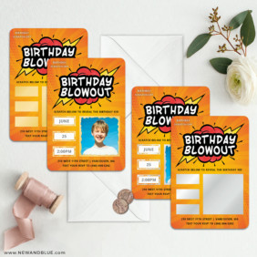 Birthday Blowout 3 Scratch Off Save The Date Magnet With Envelope