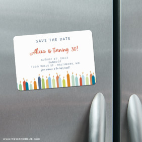 Birthday Candles 4 Refrigerator Save The Date Magnets